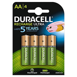 Duracell AA Pre-Charged Ultra 2500Mah Duralock Rechargeable Batteries - 4 Pack Multi Format and Universal