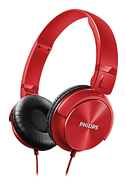 Philips SHL3060RD DJ Style On Ear Wired Overband Adjustable Headphones - Red Multi Format and Universal