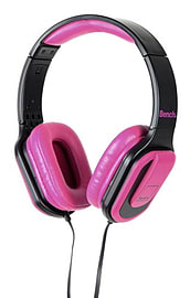 Bench Beat On-Ear Over Head Foldable Headphones with In-Line Microphone - Black / Pink Audio