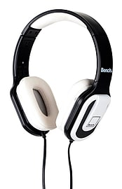 Bench Beat On-Ear Over Head Foldable Headphones with In-Line Microphone - White / Black Audio