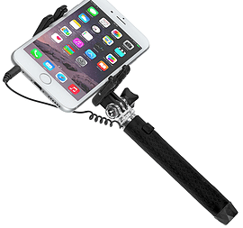 Kitvision Portable Extendable Selfie Stick for Camera's / Smartphones - Black Multi Format and Universal
