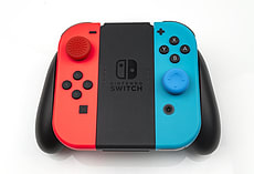 Storage Case & Thumb Grip Set for Nintendo Swtich - Protect 16 Games, Grips (4 Black, 2 Red, 2 Blue) screen shot 1
