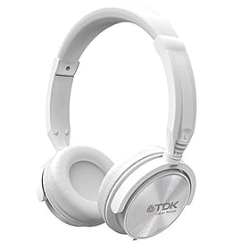 TDK ST170 Over Ear Adjustable Wired Stereo Headphones with In-Line Mic - White Audio
