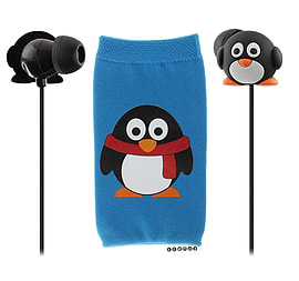 My Doodles Novelty Children's In Ear Headphones & Sock Case - Penguin Multi Format and Universal