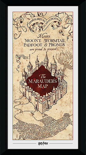 Buy Harry Potter Marauders Map (30mm Black) 50 x 70cm Collector ...