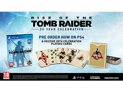 Pre-order Rise of the Tomb Raider: 20 Years Celebration to receive an Only at GAME pack of playing cards.