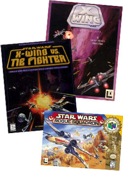 X-Wing, TIE Fighter and Roghue Squadron - Star Wars Flighht Sim games for PC and N64