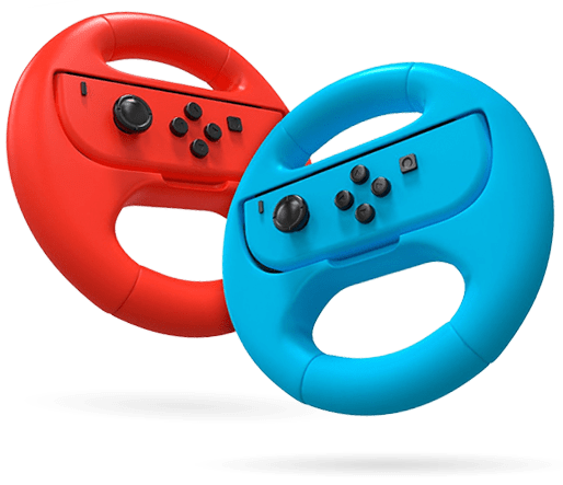 Red and blue steering wheel accessories with joy cons in the middle