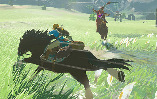 Link on a horse fighting an enemy in Zelda game