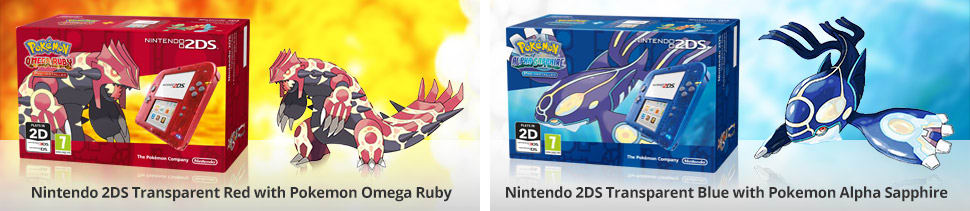 Nintendo 2DS Transparent Red with Pokemon Omega Ruby - Nintendo 2DS Transparent Blue with Pokemon Alpha Sapphire