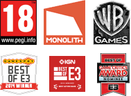 PEGI 18 Logo - Not available to gamers under 18 years of age, Monolith logo, Warner Brothers Games logo