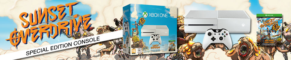 White Xbox One Console with Sunset Overdrive Download
