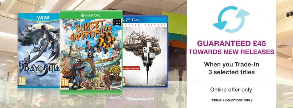 Get a guaranteed £45 towards new releases when you Trade-In 3 selected titles
