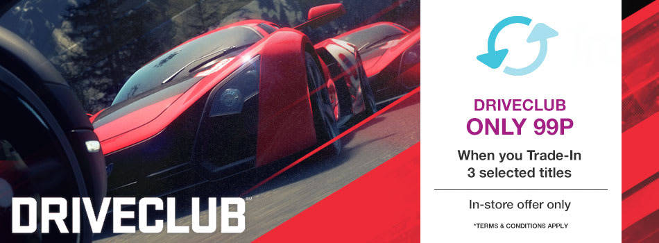 DriveClub Only 99p When You Trade-In 3 Selected Games