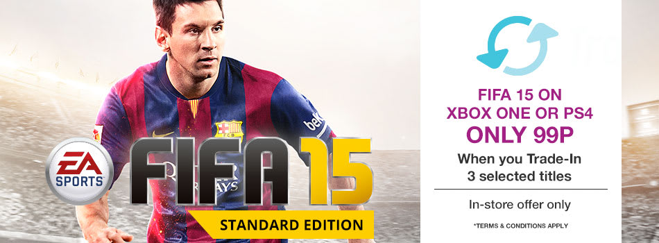Get FIFA 15 on Xbox One or PS4 for 99p When you Trade-In selected titles