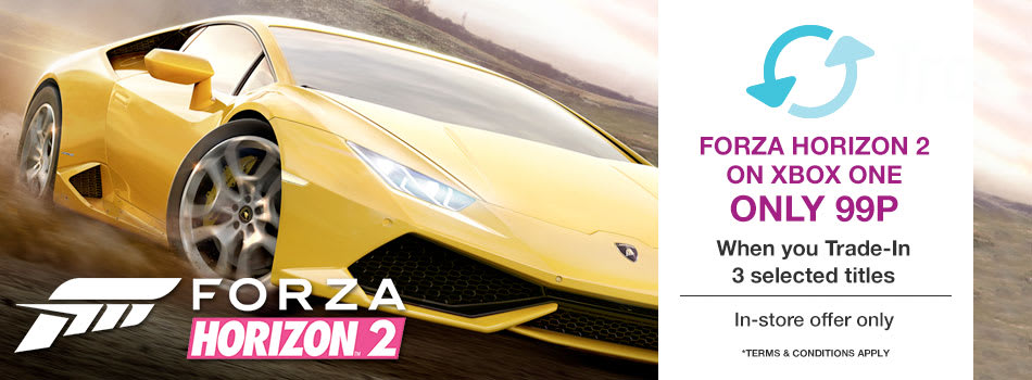 Get Forza Horizon 2 on Xbox One only 99p when you Trade-In 3 selected titles