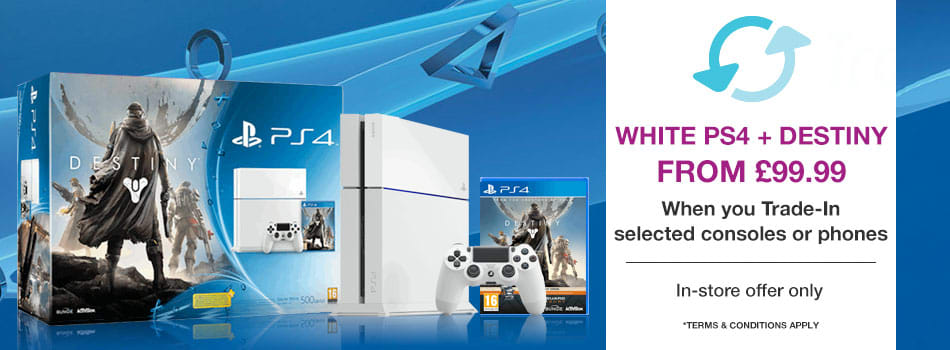 White PlayStation 4 + Destiny from £99.99 when you Trade-In selected mobile phones