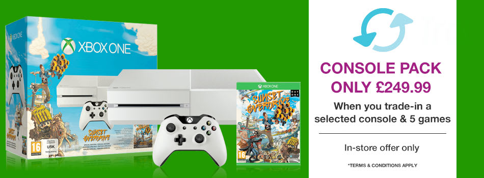 White Xbox One and Sunset Overdrive Fixed Pack only £249.99 when you Trade-In a selected console and 5 games