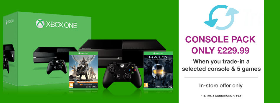 Xbox One, Destiny and Halo Master Chief Collection* for only £229.99 When you Trade-In a selected console and 5 games