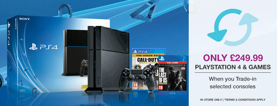 PlayStation 4 + Call of Duty: Advanced Warfare + The Last of Us Download Only £249.99 when you Trade-In selected consoles