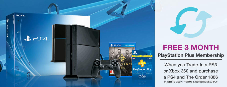 Trade-In your old Xbox 360 or PlayStation 3 console and purchase a PlayStation 4 and copy of The Order 1886, and you will get 3 months PlayStation Plus Membership FREE!