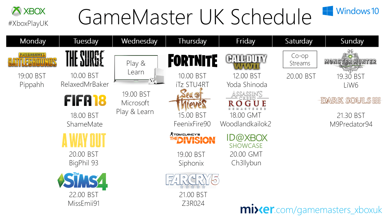 Game Masters Schedule