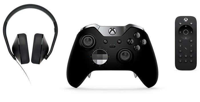 Xbox One headset, controller and remote