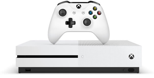 Xbox One S in white with controller