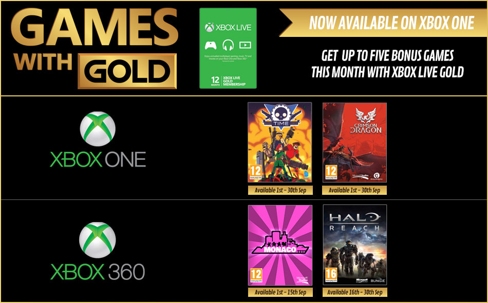 Xbox Live Gold - Now available on Xbox One. Up to 5 games to choose from this month.