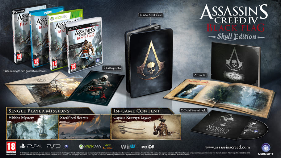 Assassin's Creed IV Black Flag Skull Edition on PC, PS3, Wii U and Xbox 360