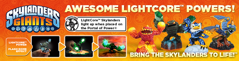 Lightcore characters from Skylanders Giants at GAME