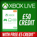 GAME Recommends - Xbox Live £50 credit with free £5 credit* - Terms and conditions apply