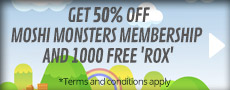 Get 50% of 1 Month and 3 Month Moshi Monsters Membership cards and 1000 free 'Rox' - at GAME.co.uk