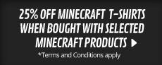 25% Off Minecraft Tshirts when bought with selected games - at GAME.co.uk