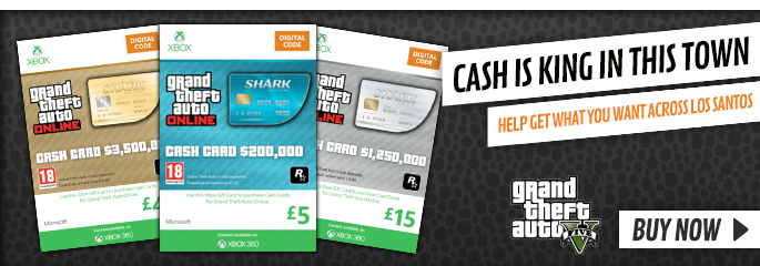 GTA Shark Cards with Double Reward Points for Xbox LIVE - Downloads at GAME.co.uk!