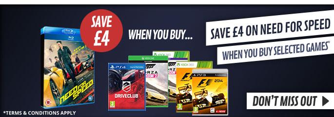 Save £4 on Need for Speed when bought with Buy Forza Horizon 2 - On Blu-Ray and DVD Now at GAME.co.uk!