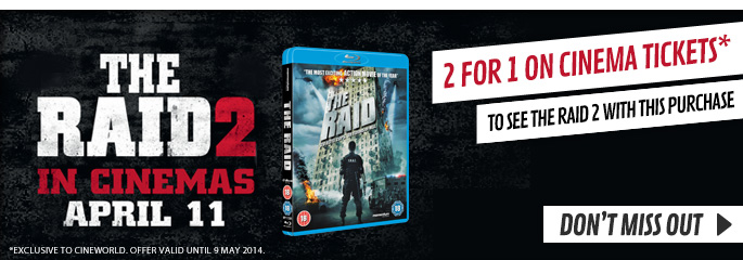 The Raid - 2 for 1 on cinema tickets - Terms and Conditions Apply - On Blu-Ray and DVD Now at GAME.co.uk!