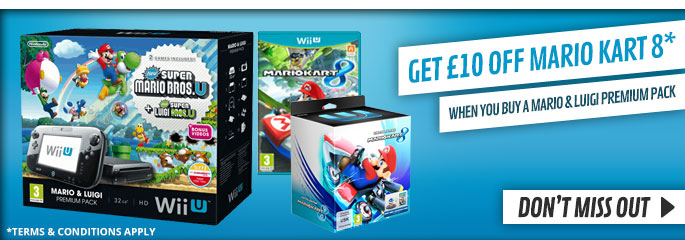 Get £10 Off Mario Kart 8 when bought with Black Wii U Mario and Luigi Premium Pack  for Nintendo WiiU - Buy Now at GAME.co.uk!