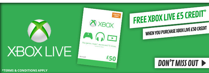 Buy £50 Xbox Live Credit and get £5 Credit free (Terms and Condtions Apply) for Xbox LIVE - Downloads at GAME.co.uk!