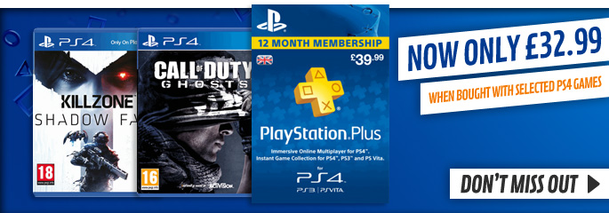 PS Plus Membership for £32.99 WBW for PlayStation Network - Downloads at GAME.co.uk!