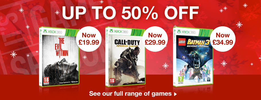 Up to 50% Off Xbox 360 games- Buy Now at GAME.co.uk!