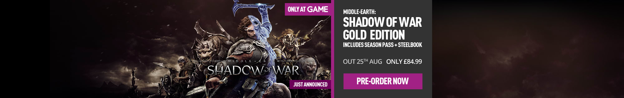 Middle-earth: Shadow of War Gold Edition - Only at GAME  for Xbox One and Playstation 4