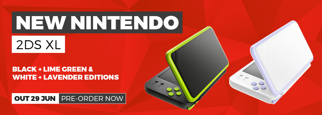 New Nintendo 2DS XL Black + Lime Green and White + Lavender