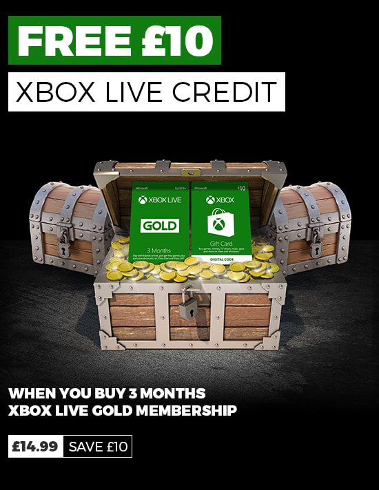 Free £10 Xbox Credit when you Buy 3 Month of Xbox Live Gold
