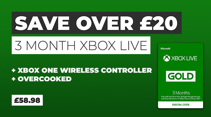 Xbox One Controller with Overcooked and 3 Months Xbox Live - Save £20