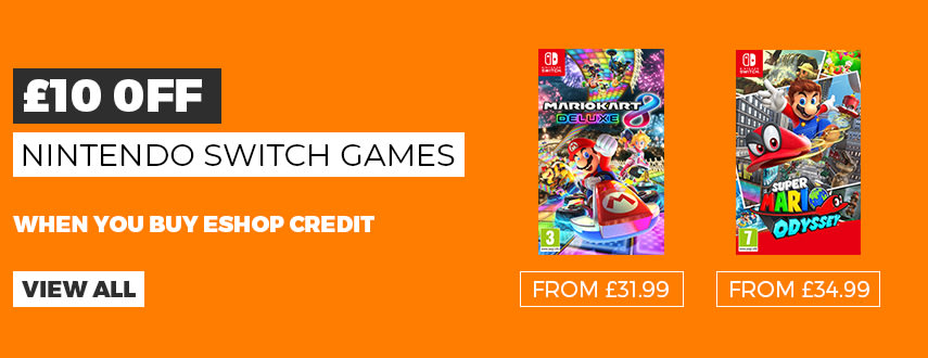 £10 Off Nintendo Switch Games when you buy Nintendo eShop Credit - Buy Now at GAME.co.uk
