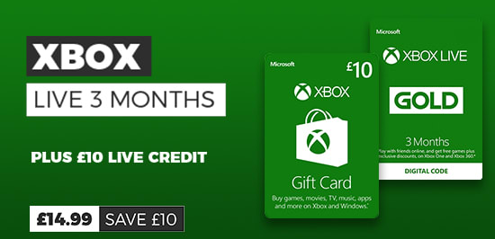 £10 Xbox Live Credit Free with 3 Month Xbox Live Subscription