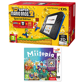 Nintendo 2DS Super Mario Bros 2 Fixed Pack with Miitopia for 2DS/3DS