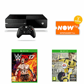 Preowned Xbox One 500GB with WWE 2K17 and FIFA 17 plus NOW TV