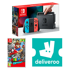 Nintendo Switch Neon with Super Mario Odyssey + £5 Deliveroo Credit